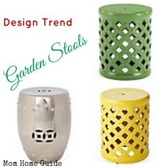 I love the new garden stool trend -- they come in beautiful colors and can be used an end tables or extra seating in a bedroom, living room or family room, or on the patio!