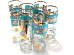 Libbey 22K Gold Turquoise Glassware Steamboat by recreated1