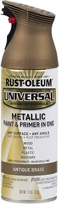 Rust-Oleum Antique Brass 260728 Universal All Surface Spray Paint ... Copper Spray Paint, Metallic Spray Paint, Metallic Paint Colors, Rustoleum Metallic, Paint Primer, Kitchen Redo, Black Stainless Steel, Oil Rubbed Bronze, Wood And Metal