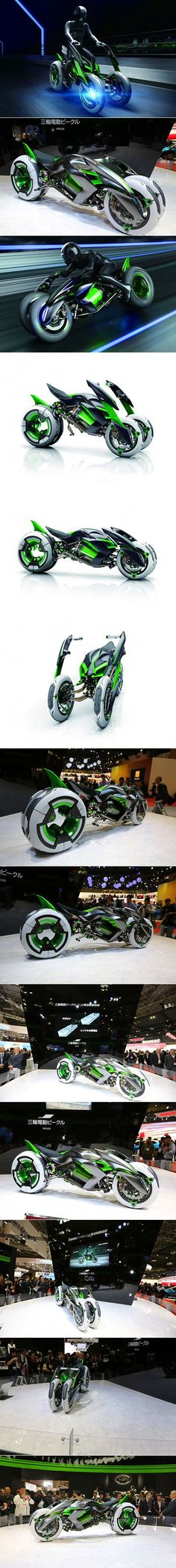 "Kawasaki threw another fascinating oddity into the ring at the Tokyo Motor Show today with the unveiling of the outlandish, shape-shifting ""J"" 3-wheel electric vehicle concept."