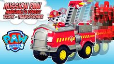 PAW Patrol Marshall's NEW Transformers FOREST FIRE TRUCK Toy - Rescue Bot Marshall Saves the Pups