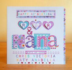 Mum & Nana Grandma Nanny personalised special birthday card