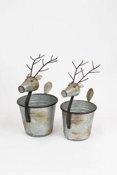 Set Of 2 Metal Deer Planters   Etsy Mesh Christmas Tree, Christmas Decorations, Bee Skep, Metal Planters, Galvanized Metal, Christmas Projects, Bud Vases, Pine Cones, Mantle