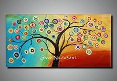 Wholesale Paintings - Buy 100% Hand Painted Modern Tree of Life Painting Abstract Wall Art Canvas Com1222, $42.64 | DHgate