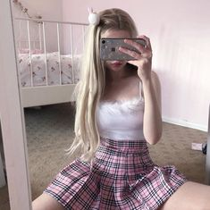 Pink plaid skirt 💘💘 Also if you missed our story, we will be changing brand names very soon! This won't affect any orders, emails etc. Edgy Outfits, Girl Outfits, Fashion Outfits, Aesthetic Girl, Aesthetic Clothes, Estilo Harajuku, Kawaii Clothes, Daddys Girl, Girl Poses