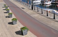 Bird's eye view of Douglas Dockside with durable granite planters