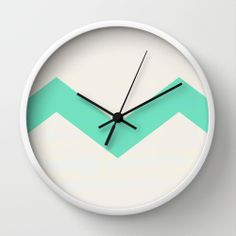 Mint Chevron Wall Clock by Georgiana Paraschiv | Society6