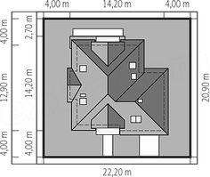 Usytuowanie projektu Amira na działce Modern Bungalow Exterior, House Plans, Floor Plans, How To Plan, Garden, Villa, Houses, Type, Architecture
