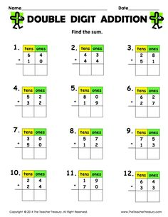 FREE Double Digit Addition (without regrouping) math 1 2