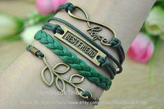 Bronze Infinity Hope Best Friend & Leaf Bracelet by HandmadeTribe, $4.50 Fashion handmade leather jewelry