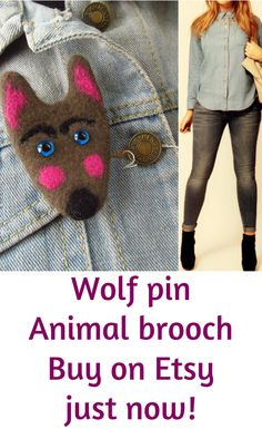Wolf pin Animal brooch | puppets • hand puppets • finger puppets •kids gifts • kids toys • kids games • kids ideas • muppets • bibabo • puppet theater • puppet diy • puppets for kids to make • muppets funny • muppets party • muppet quotes • muppets birthday party | ★ bozhenafelt.etsy.com