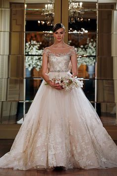 Such a stunning pink lace ball gown! Romona Keveza Collection, Spring 2015