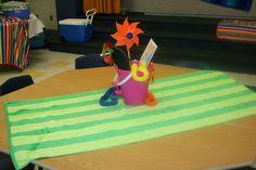 tabletop for beach themed 6th grade graduation