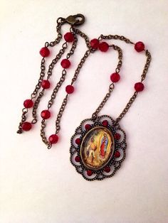 The Apparition of Our Lady Of Guadalupe Iconographic Folk Art Necklace  on Etsy, $36.00