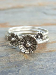 Tiny Flower Stacking Ring