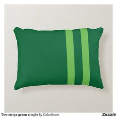 Two stripe green simple accent pillow Soft Pillows, Accent Pillows, Bed Pillows, Green Cushions, Green Home Decor, Party Hats, Emerald Green, Soft Fabrics, Art Pieces