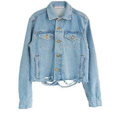 PUSSY POWER DENIM JACKET (1 300 SEK) ❤ liked on Polyvore featuring outerwear, jackets, blue denim jacket, distressed jacket, blue jean jacket, jean jacket and blue jackets