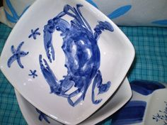 Square Blue Crab Bowl by brookepickering on Etsy, $28.00