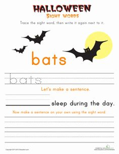 Halloween First Grade Building Sentences Sight Words Worksheets: Halloween Words: Bats