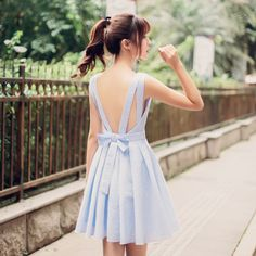Korean fashion V-neck halter waist A word dress