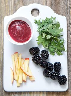 This Blackberry + Kale + Apple Puree is like a vitamin party for baby.
