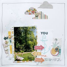 You and Me, by Ashli Oliver using the Bistro Collection from www.cocoadaisy.com #cocoadaisy #scrapbooking #kitclub #layout #vellum #stitching #doodle #watercolors #clouds