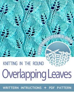 Knitting Patterns Scarves Circular Knitting -- Overlapping Leaves stitch in the round. Really pretty, straightforward pattern. Knitting Stiches, Knitting Charts, Lace Knitting, Knitting Patterns Free, Knit Stitches, Lace Patterns, Stitch Patterns, Crochet Patterns, Yarn Projects