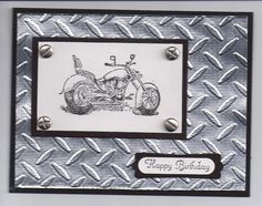 57 best Ideas for motorcycle man birthday cards Birthday Cards For Boys, Masculine Birthday Cards, Man Birthday, Masculine Cards, Scrapbooking, Scrapbook Cards, Motorcycle Birthday, Boy Cards, Men's Cards