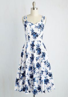 Point of Preference Dress - White, Blue, Floral, Print, Daytime Party, Pinup, Vintage Inspired, 50s, A-line, Sleeveless, Spring, Woven, Best, Cotton
