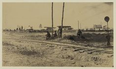 """View of """"Y"""" on the City Point & Army line, near yellow house"""