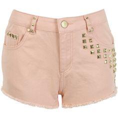 Miss Selfridge Peach Studded Short ($26) found on Polyvore