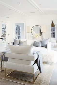 creamy white living room, gray accents, benjamin moore simply white