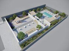 Hotel Outdoor Space in Santorini, 3D Rendering - www.pzarch.gr
