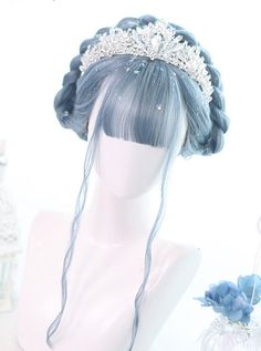 Mermaid's Tears Series Long Curly Hair Lolita Blue Wigs Kawaii Hairstyles, Cute Hairstyles, Long Curly Hair, Curly Hair Styles, Kawaii Wigs, Lolita Hair, Jennifer Aniston Hair, Blue Wig, Frontal Hairstyles