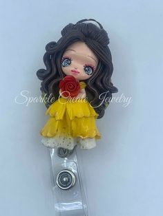 LIMITED EDITION Belle Clay Badge Reel #Disney