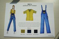 MSKPU fashion design students project and fashion illustration inspired IKEA staff uniform. International School of Costume and Fashion Design in Warsaw, Poland Międzynarodowa Szkoła Kostiumografii i Projektowania Ubioru, Warszawa www.mskpu.pl