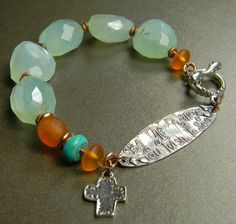 Seafoam Chalcedony Sterling Silver Bracelet Orange by ChrysalisToo, $78.00