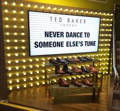 """TED BAKER, London,UK, for SCHUH, """"LED Illuminated Display by PEP Retail Signage and Display,UK, pinned by Ton van der Veer"""