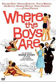 """Where the Boys Are (1960) is an American coming-of-age comedy film, written by George Wells based on the novel by Glendon Swarthout, about four Midwestern college co-eds who spend spring break in Fort Lauderdale, Florida. The title song """"Where the Boys Are"""" was sung by Connie Francis, who also co-starred in a supporting role. The film was aimed at the teen market, featuring sun, sand and romance."""