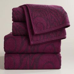 WorldMarket.com: Peacock Feather Jacquard Bath Towel Collection Would the purple work? Maybe for the master bath?
