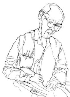 elizabeth berrien's wire sculpture portrait illustration of teacher ken curran, wire sculpture