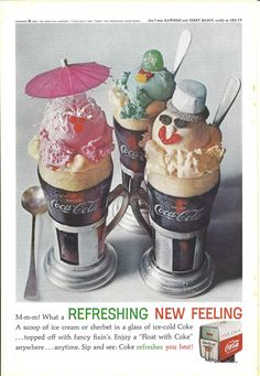 1962 Coca-Cola Ice Cream Float Refreshing New Feeling Vintage Print Ad by OnlineFiveandDime on Etsy https://www.etsy.com/listing/537438391/1962-coca-cola-ice-cream-float