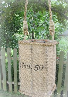 Knock-Off Anthropologie Jute Lantern - made from juice container, burlap, & jute rope.