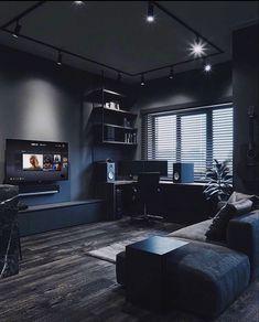 Home Office Setup, Home Office Design, House Design, Desk Setup, Black Interior Design, Bedroom Setup, Game Room Design, Dark Interiors, Luxurious Bedrooms