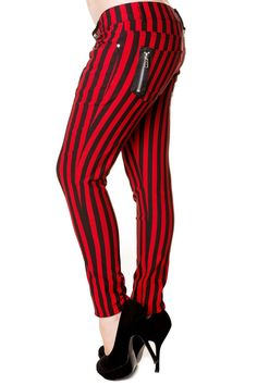 Banned Apparel Punk Goth Steampunk Striped Skinny Jeans