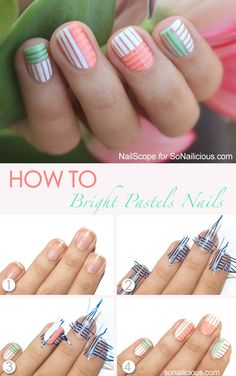 Pastel Spring Nail Art Tutorial. More: http://sonailicious.com/bright-pastel-nail-art-tutorial/