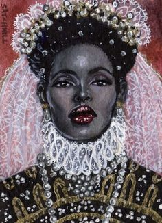 The Black Queen by Artist Mark Satchwill http://beautifulbrownbride.blogspot.com/