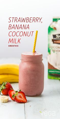 Banana Strawberry Smoothie: There's good reason this blend of fruits has stood the test of time; it's just as delicious as it is simple.  So, throw these few ingredients into a blender, and take a ride down a nostalgia road. #BestSmoothie #VegaSmoothie