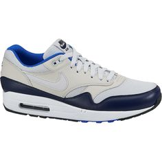 buy online cd3de 1da8e Air Max 1 Essential in white  blue  black colorway characterized by a slim  silhouette