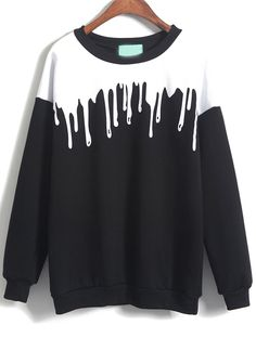Round neck pullover sweatshirt actually is more style than hooded sweatshirt .It also be not that childish .This black white color block spilled milk print sweat shirt is just simple but stylish !